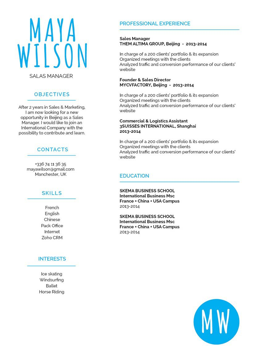 Find one of the best resume template onlines in this CV!