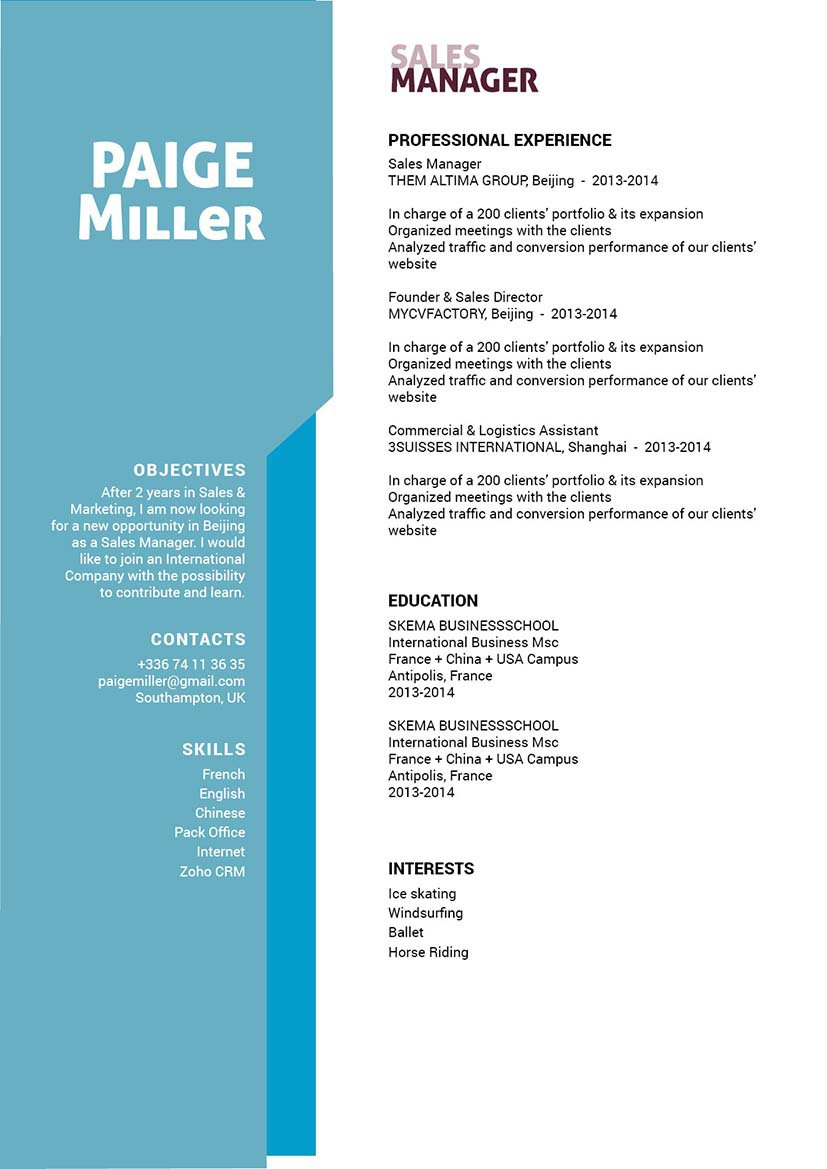 The format used in this resume template brings out all the essential information of the candidate