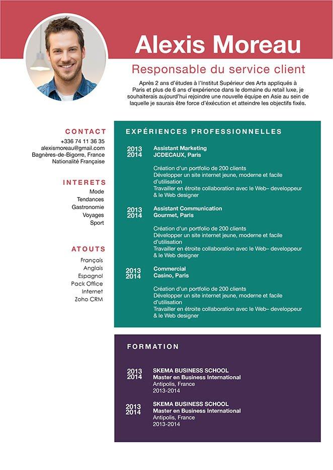 Un exemple de CV dans lequel des bandes, des cadres colorés et des colonnes mettent en valeur les renseignements essentiels du candidat.