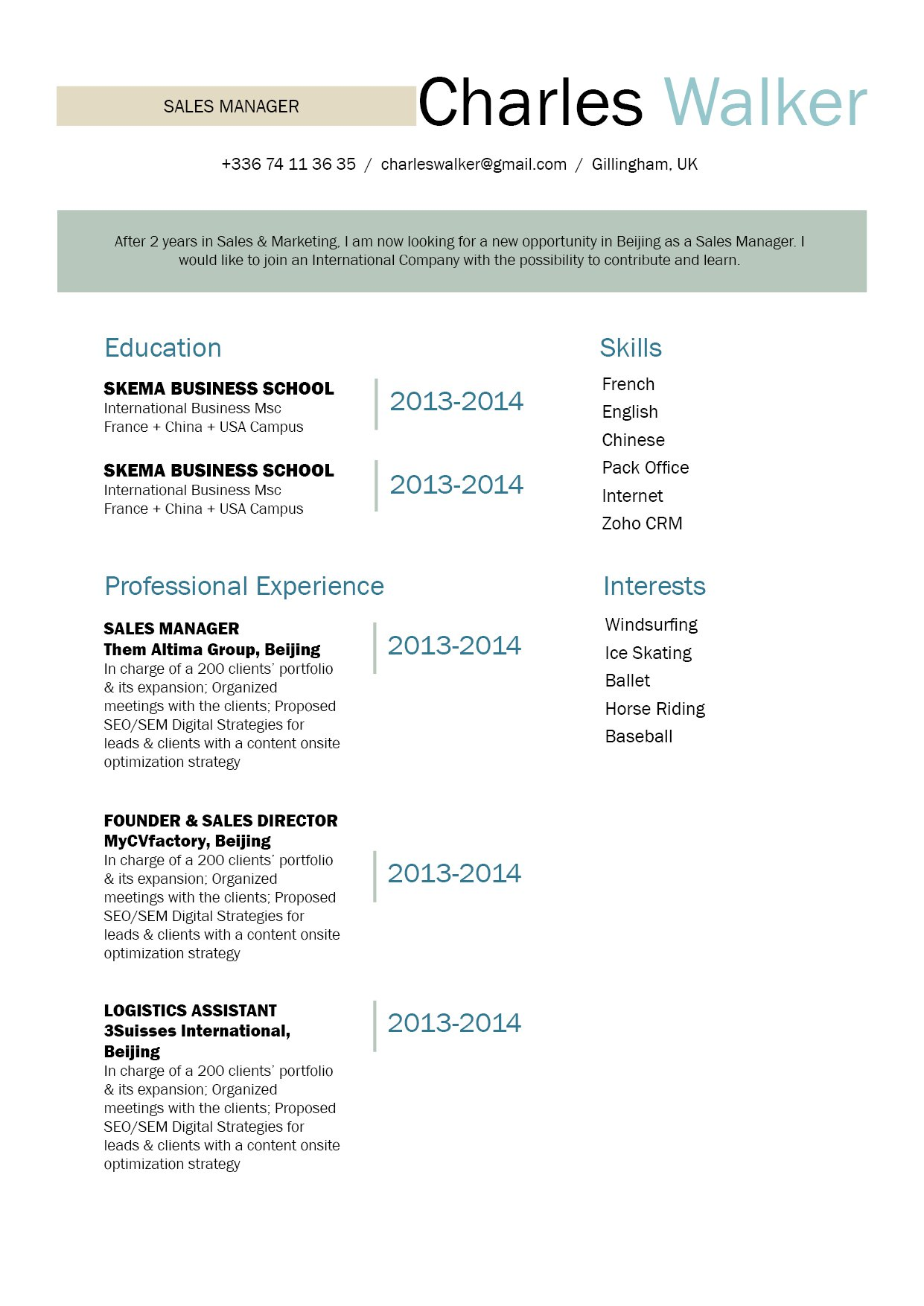 This simple resume template has format crafter perfectly for professionals!