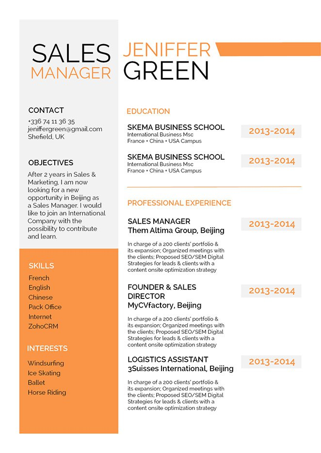 Great format and lay out -- the best job resume template we have!