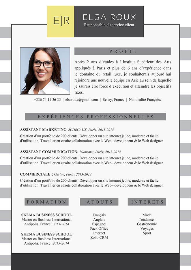 Exemple de CV professionnel et reflétant le caractère sérieux du postulant.