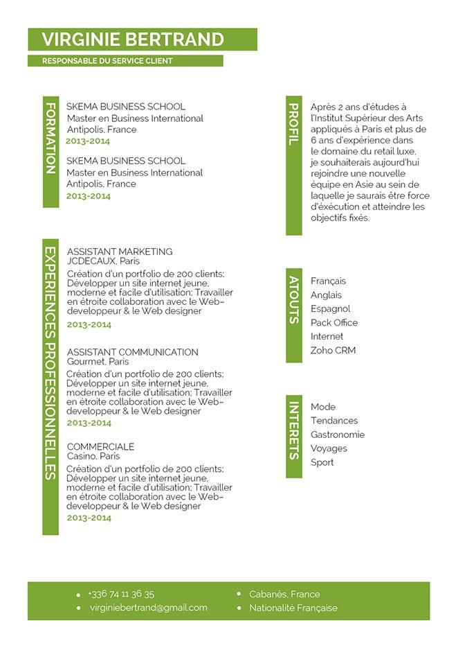 Un CV professionnel grâce à son contenu et sa forme. Les informations clés sont surlignées en bleu pour être faciles à repérer.