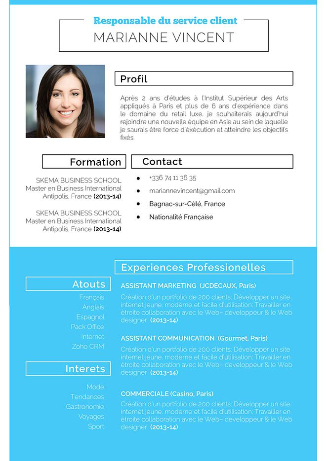 Un modèle de CV usant d'encadrés, de bandes et caractères en gras, tous de couleur bleue pour distinguer chaque détail des informations du postulant.