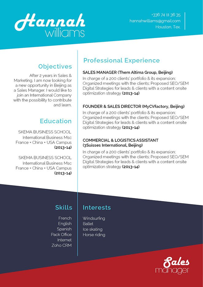 A resume template with a creative format designed for professionals