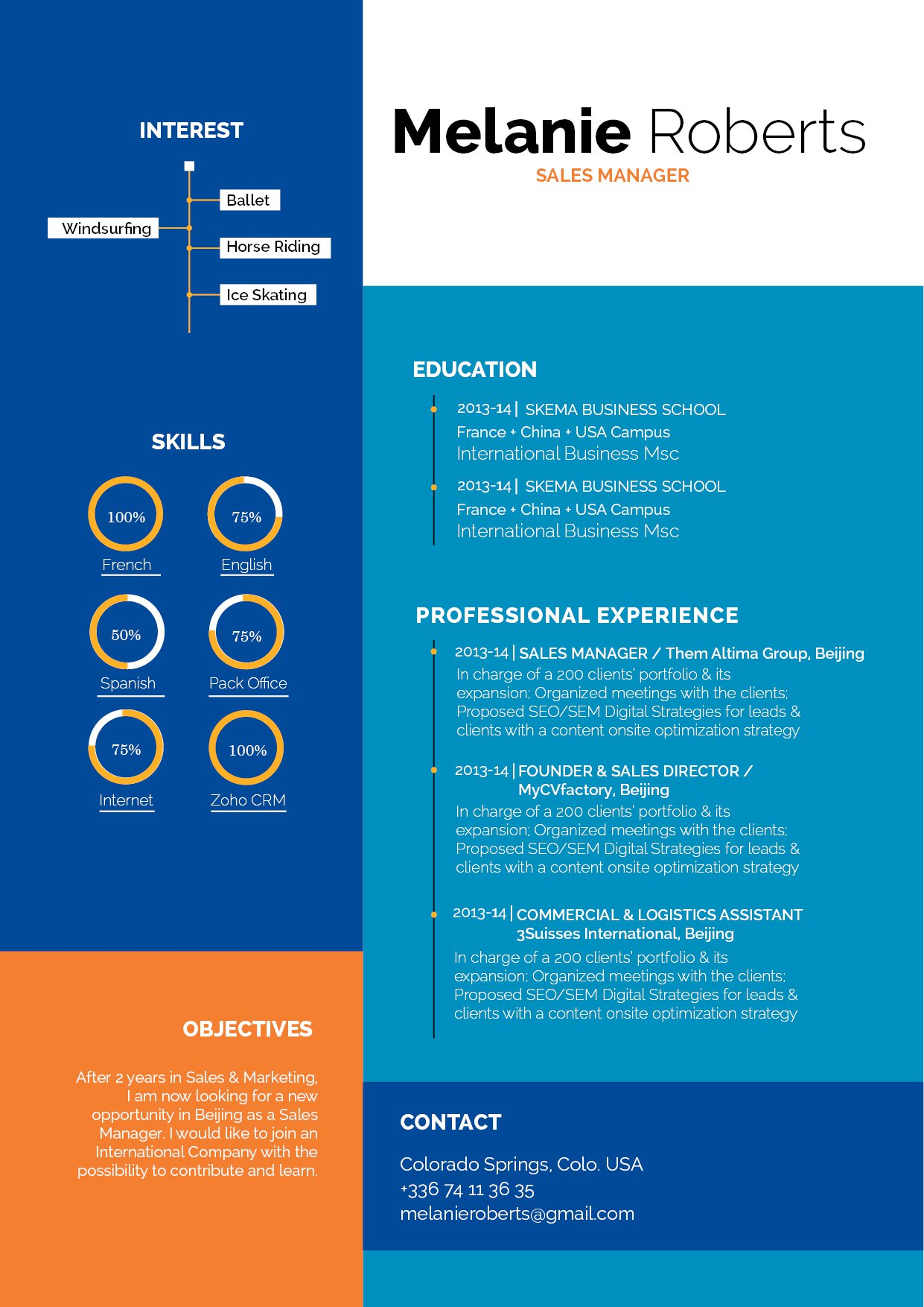 This modern CV comes with a great format made for professionals!