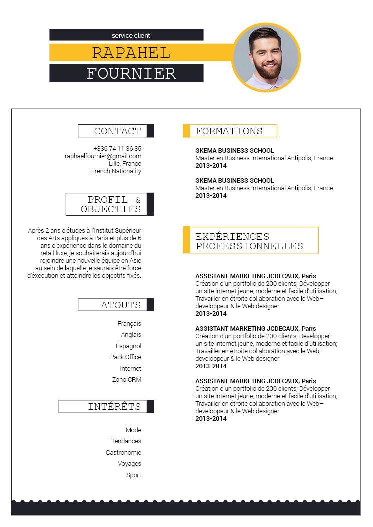 Un design de cv bien agencé. Un en-tête bien visible grâce à la couleur jaune. Deux colonnes en parallèles avec des informations condensées.