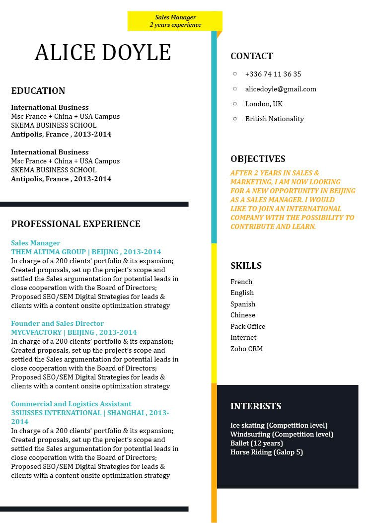 A great modern CV template with an even greater design to get you hired!
