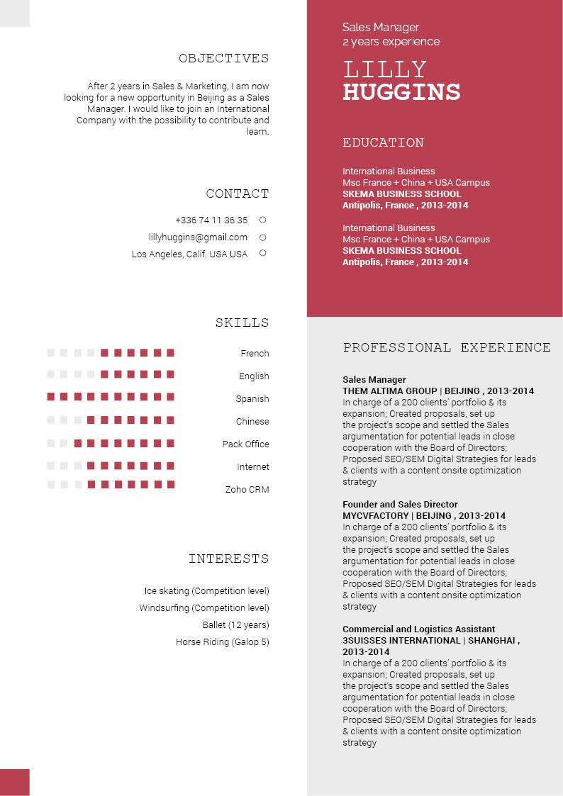 The formatting will surely impress your recruiter! Choose this Modern CV template!
