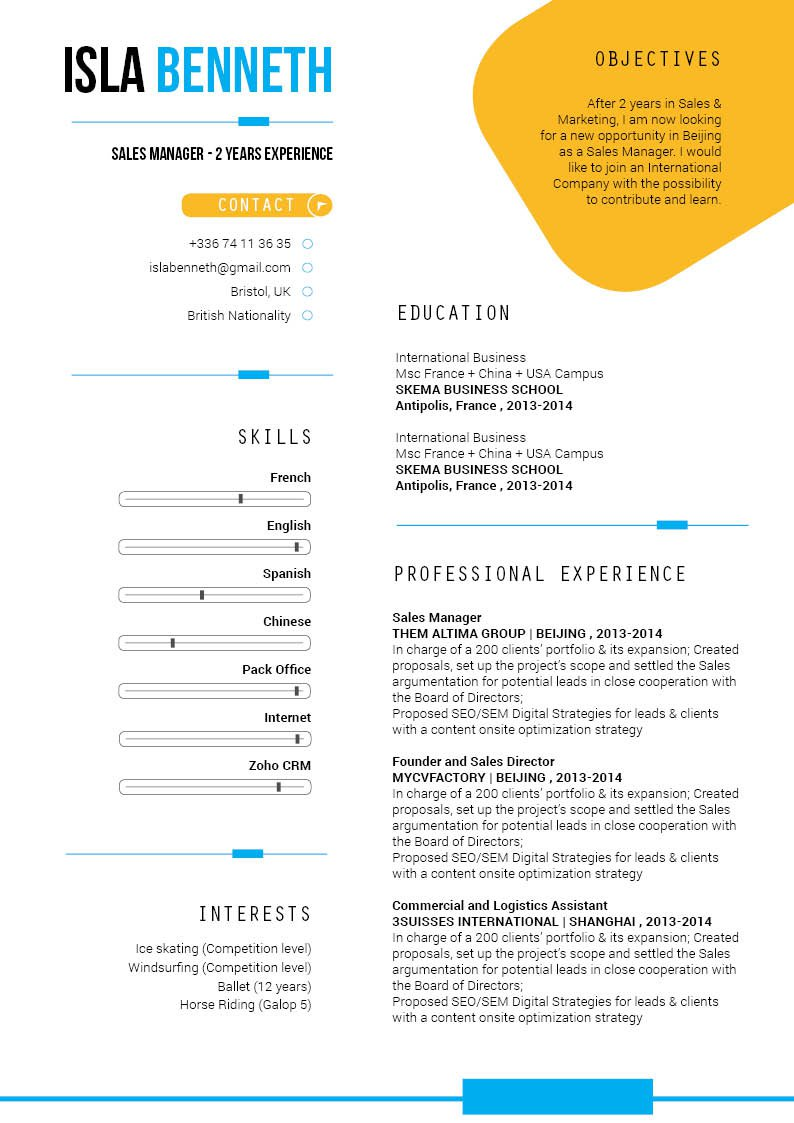 A professional resume template with a creative format designed for professionals