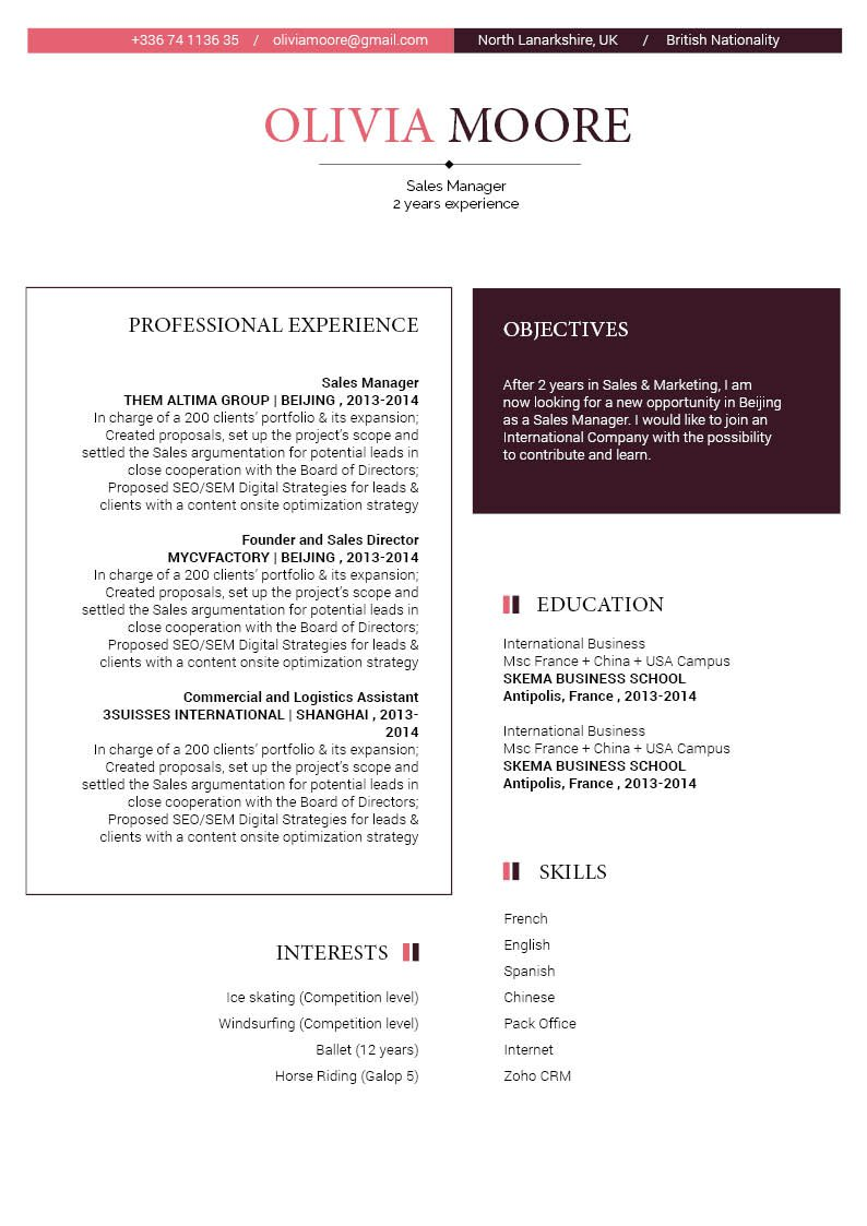 The layout is crafted thoughtfully to bring you the best simple CV Template available.