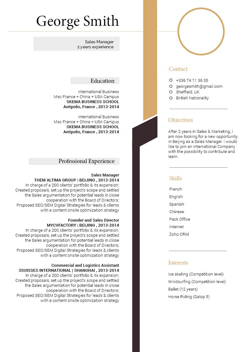A modern cv format that provides your reader with the essnetial bits of information!