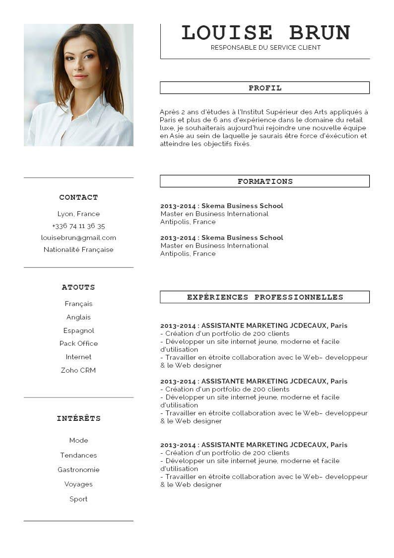 En-tête partagé en deux zones : à gauche la photo du profil, juste en dessous les sections séparées par des lignes. A gauche des encadrés  pour les titres de section.