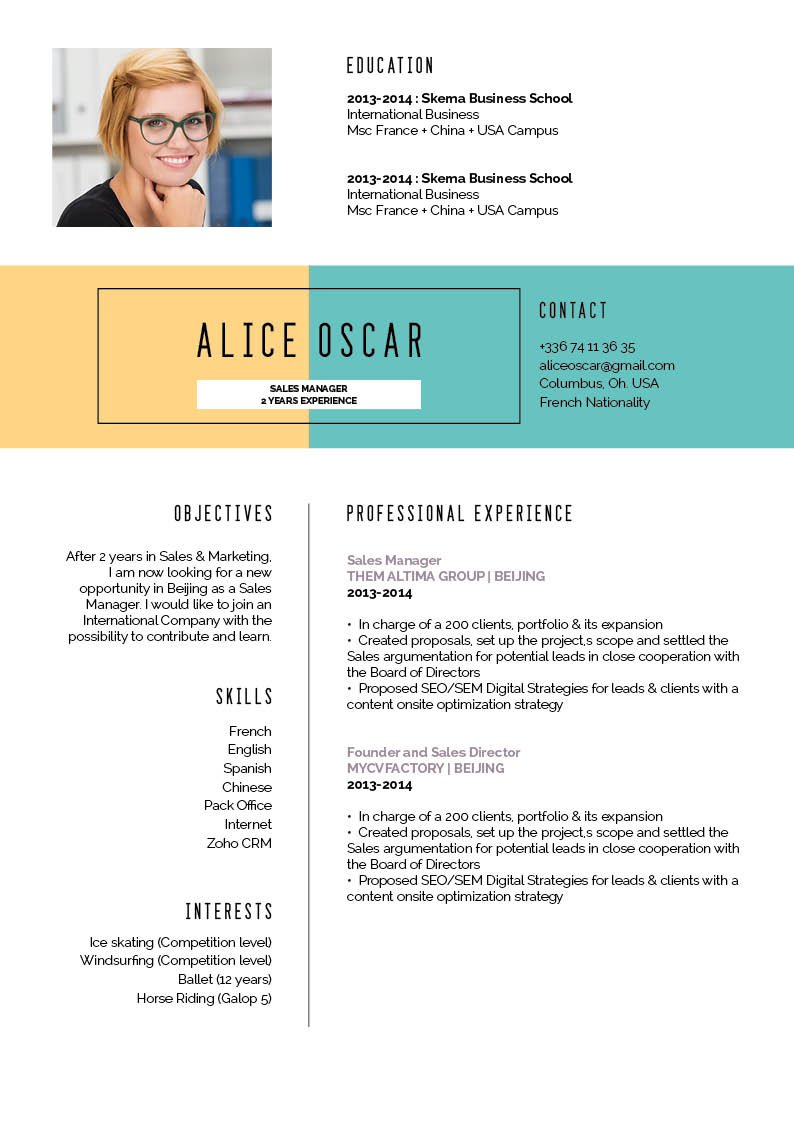The colors and font styles form a perfect mix in thisonline resume template