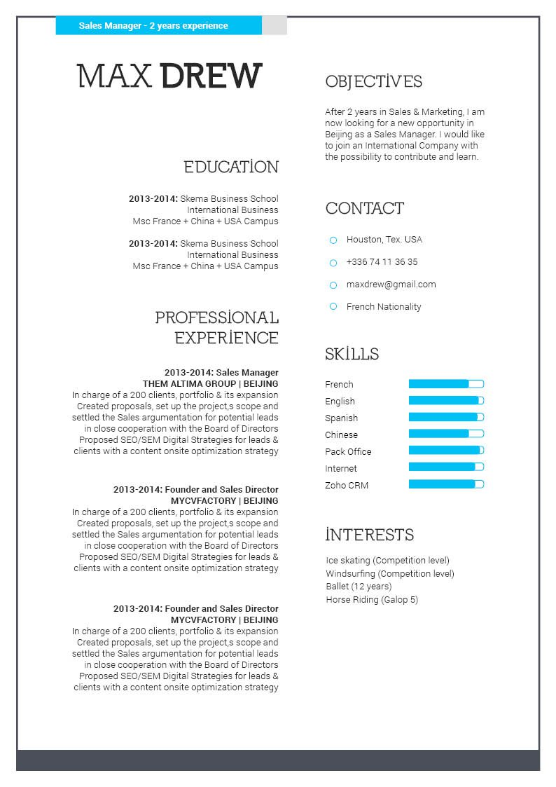 This Professional Resume template uses colors and shapes to its advantage
