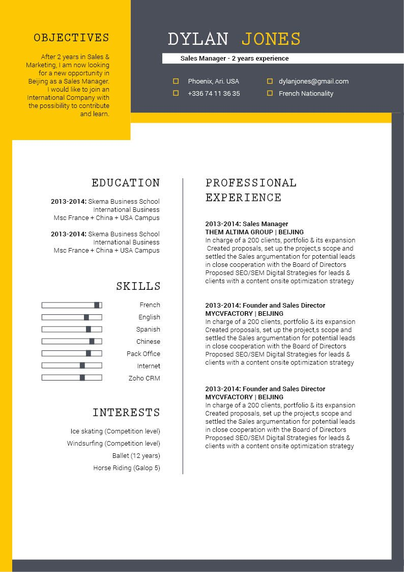 Jump start your career with this modern resume template