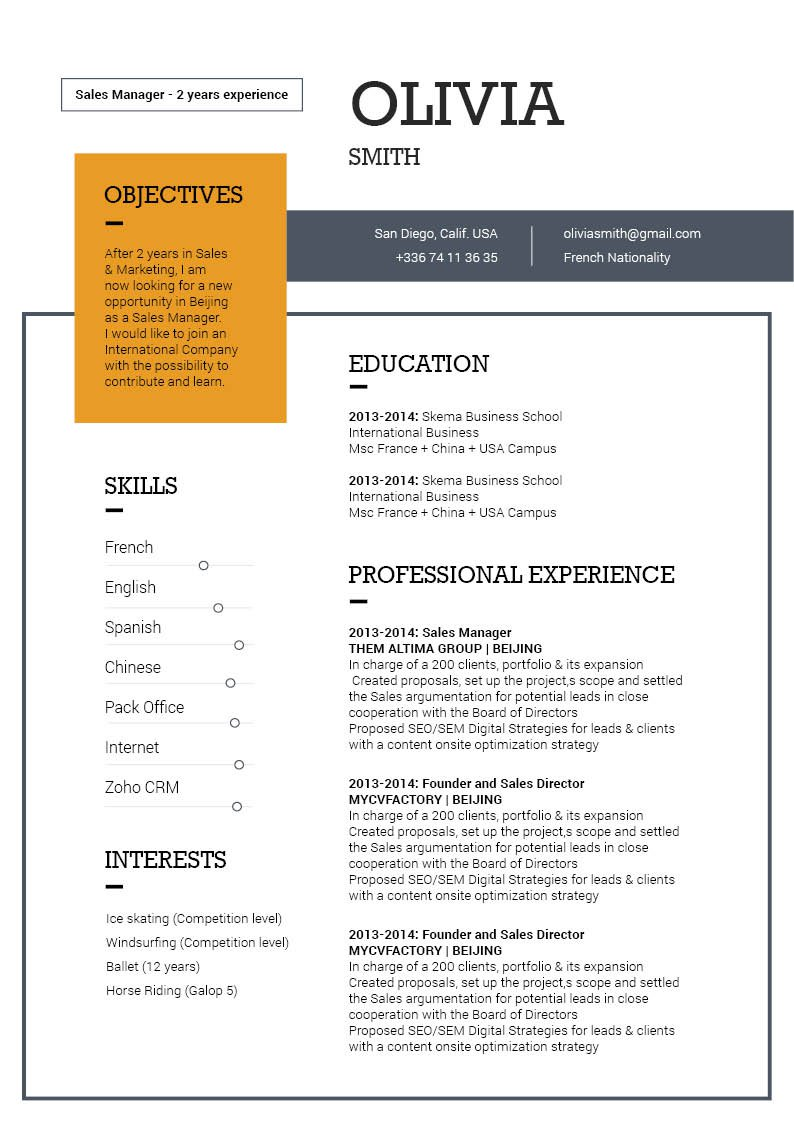 Modern Resume template a simple and classic and functional design