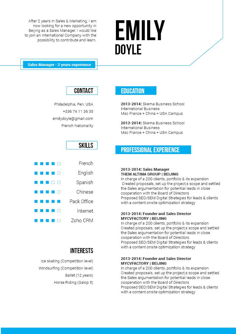 A Modern Resume template that has all the pertinent information made readily avaialbe to the reader