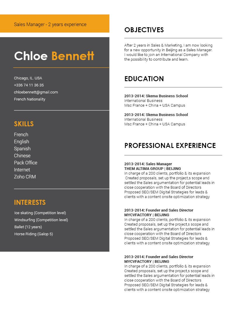 This is the best online resume template excellently highlights all the key parts in your CV