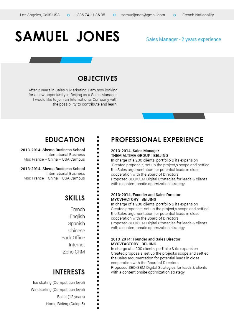 A modern resume template that has all the elements of a great CV
