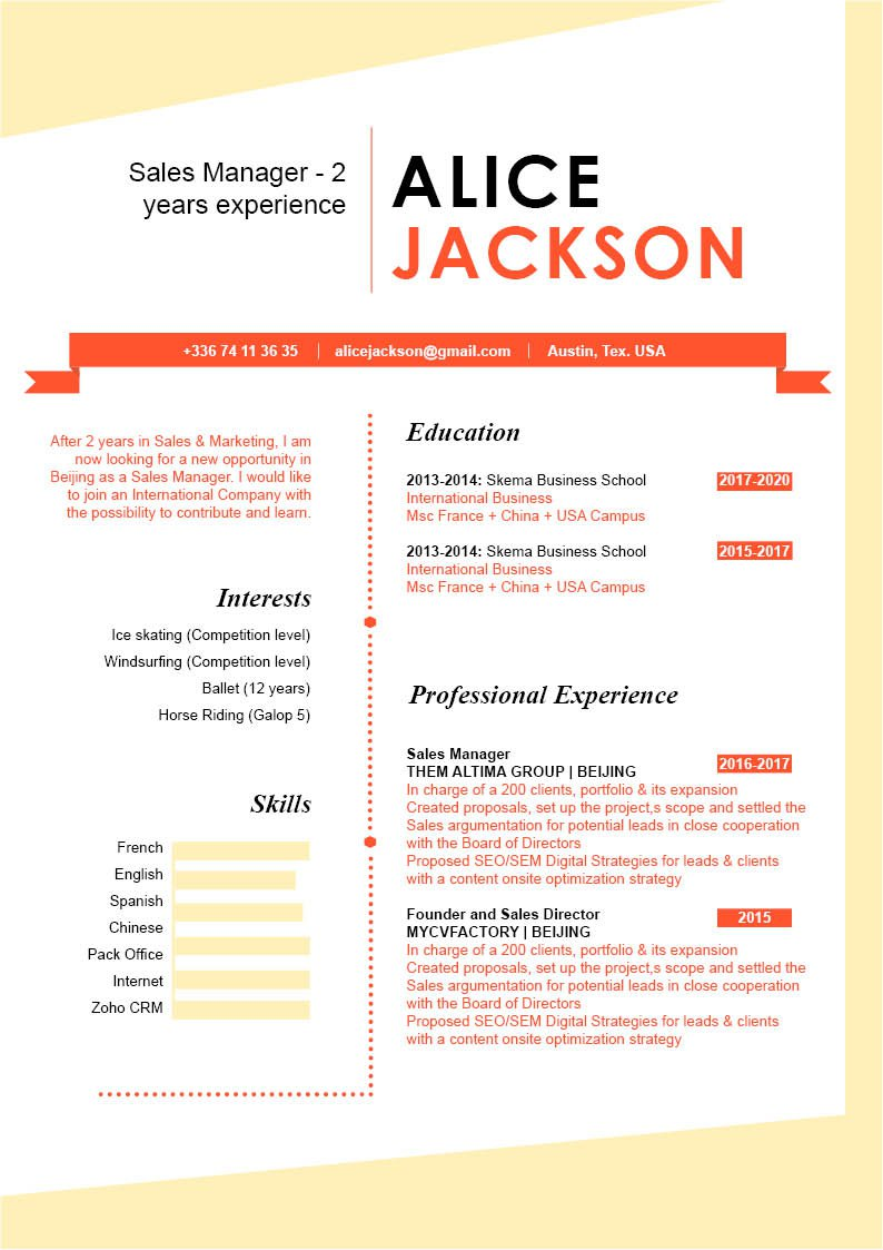 A Cv template  that is applicable to any job type in the field.
