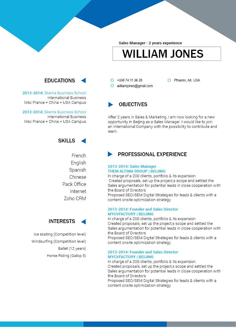 This professional CV template has a clean design made for winners