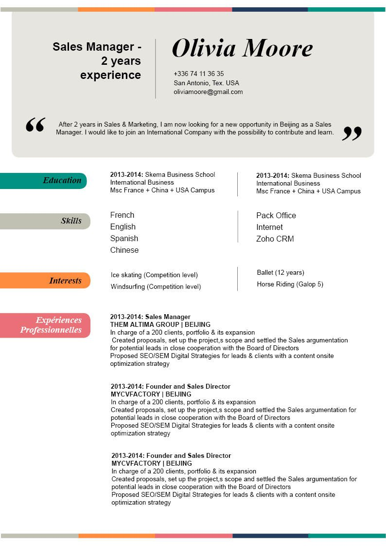 A professional cv presentation wanted by both candidates and recruiters