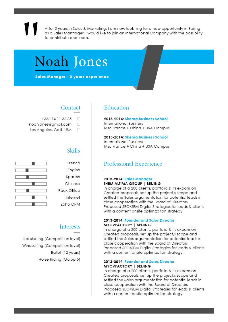 modern resume template to help you get that dream job