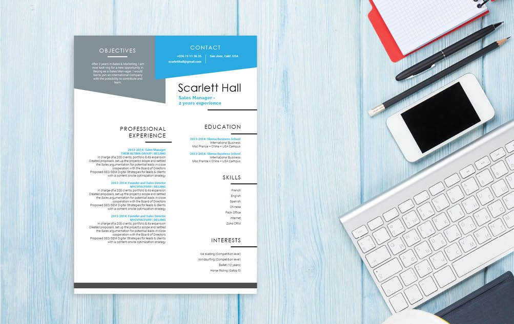 The content written in this CV template is clear thanks to the professional lay out