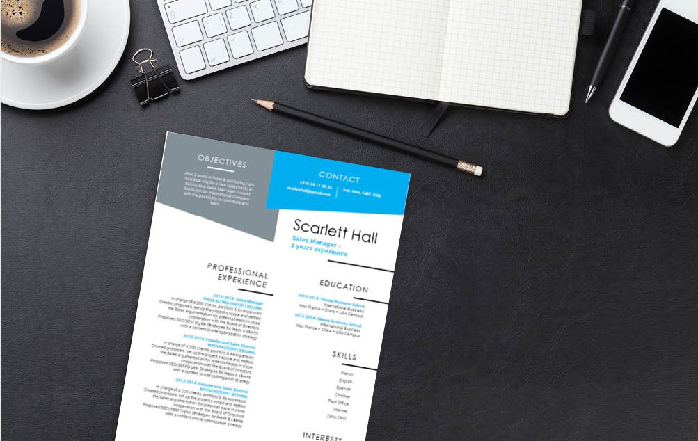 All sections are highlighted equally thanks to this CV template's creative design