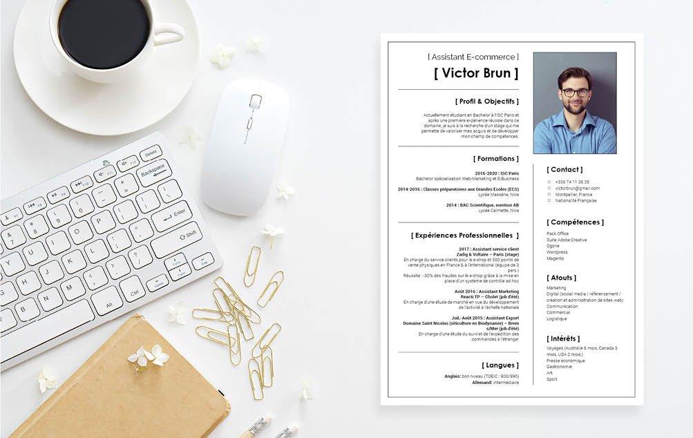 Un modèle de CV simple et sobre mais  qui ne fait aucune concession sur l'esthétique.