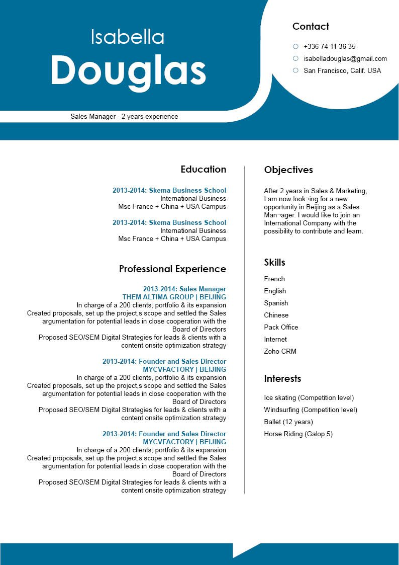 The format used in this professional resume template makes it one of the best samples resumes we have!