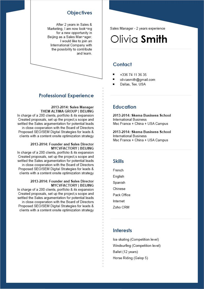 Use this creative format to make a good modern CV!