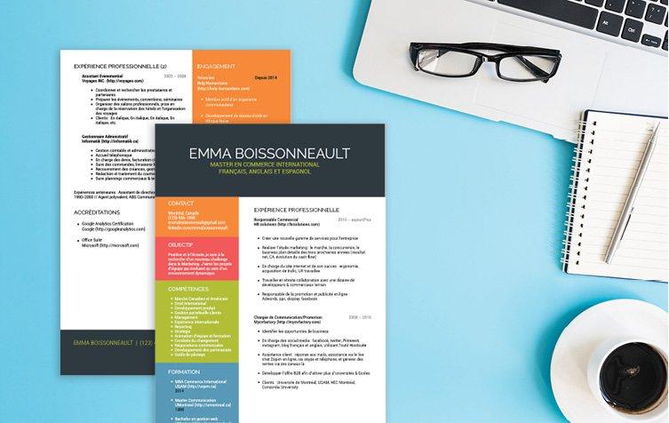 Un CV template garni, mais aéré, design, séduisant, haut en couleurs et facile à lire.
