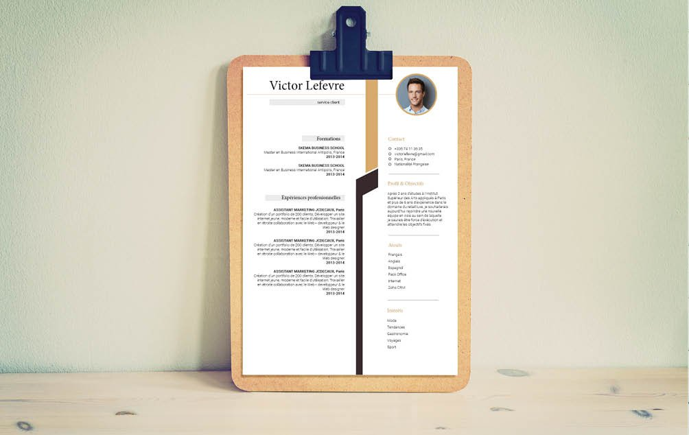 Un cv avant tout simple et fontionnel. Facile à l'usage