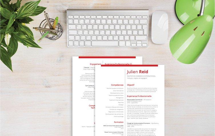 Un CV à télécharger se décorant d'un jeu de couleurs attrayantes, dont le rouge et le noir gras des polices.