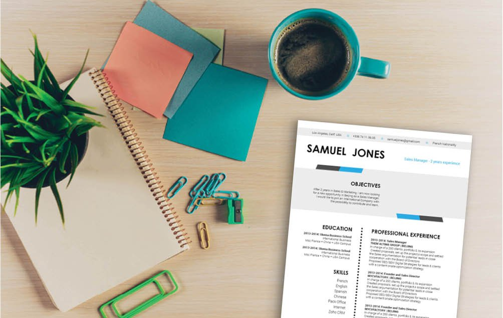 The colors and shpaes used in thismodern resume template will get you hired!