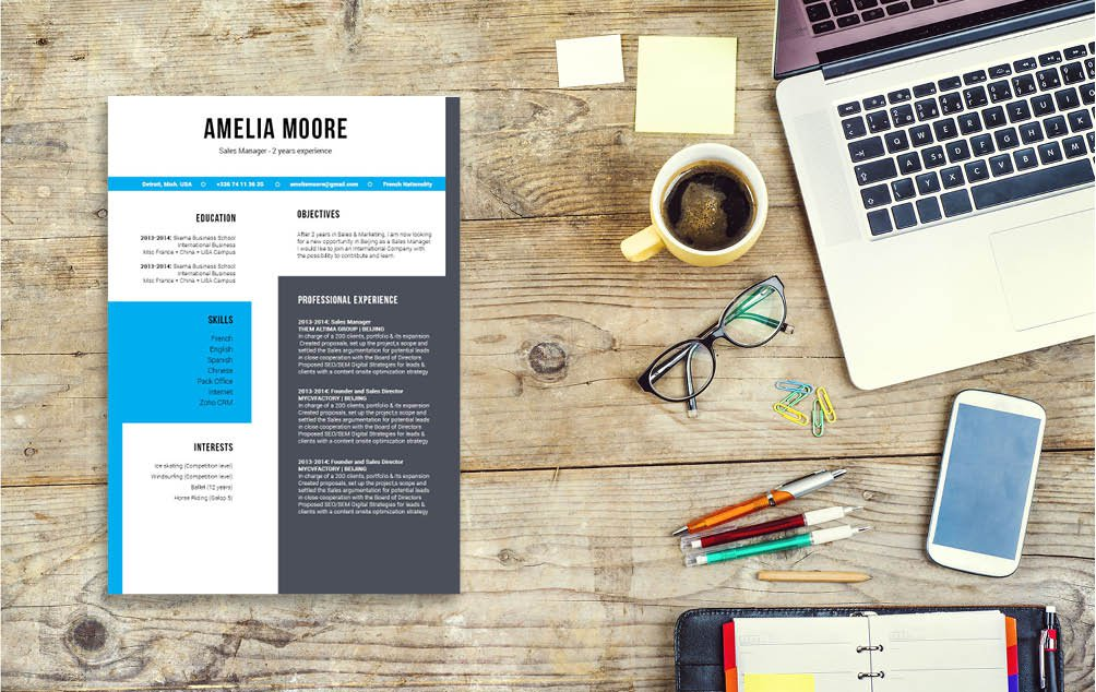 This best downloadable resume template features an excellent choice fo styles and shapes which make it ideal for the IT sector