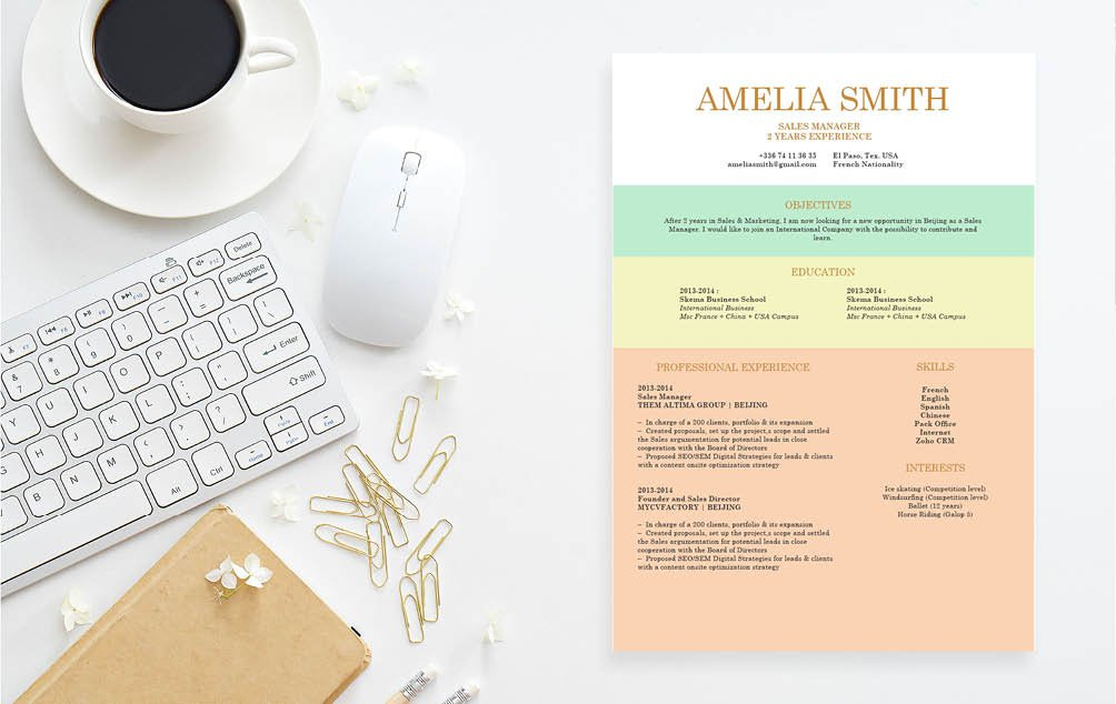 Build your professional resume with this job resume template's effective format