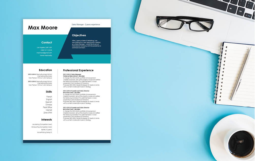 The designs and styles in this professional resume template make for an effective CV format