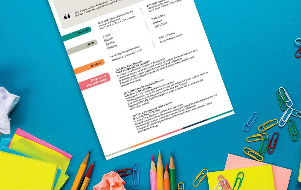 A great design choice of colros and shapes make this professional cv presentation ideal for all candidates