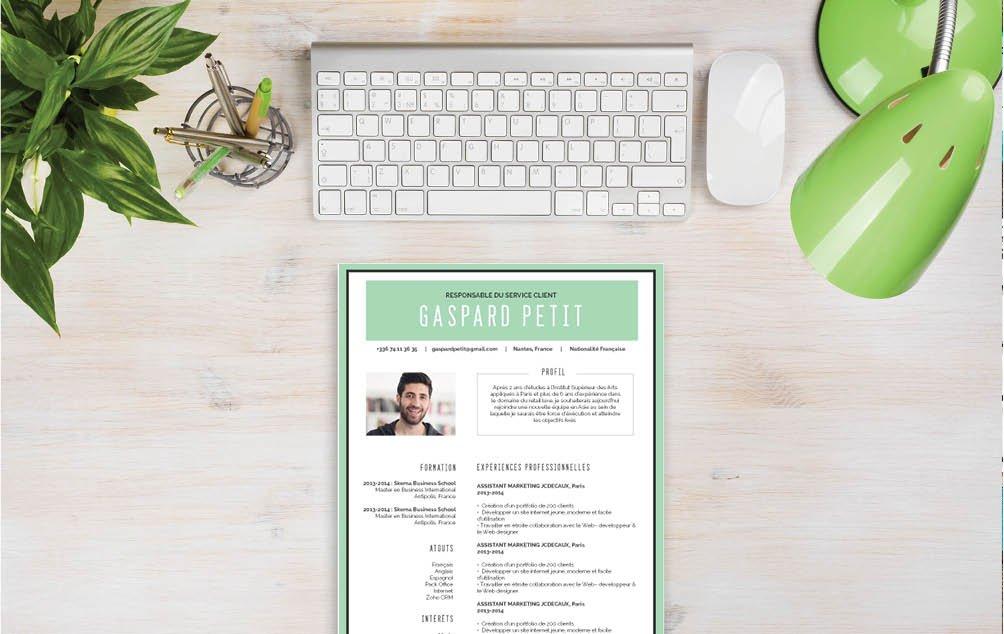 Un CV qui sait se mettre en valeur. Grâce à ses couleurs claires il donne tout de suite envie de le lire.