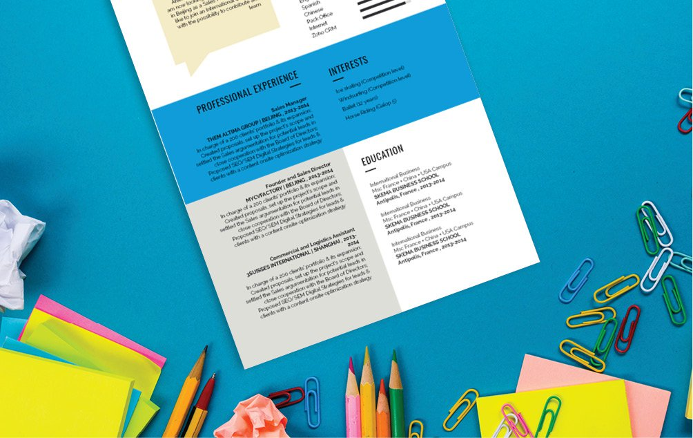 The colors and shapes make every section stand out in this functional CV template!