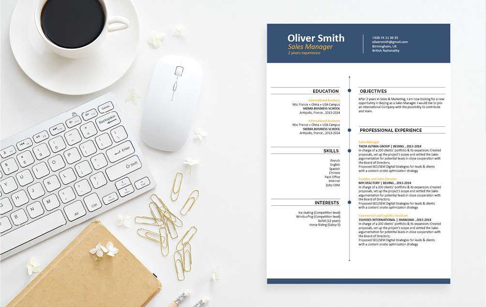 Looking for a great design? Just take a look at this professional CV template