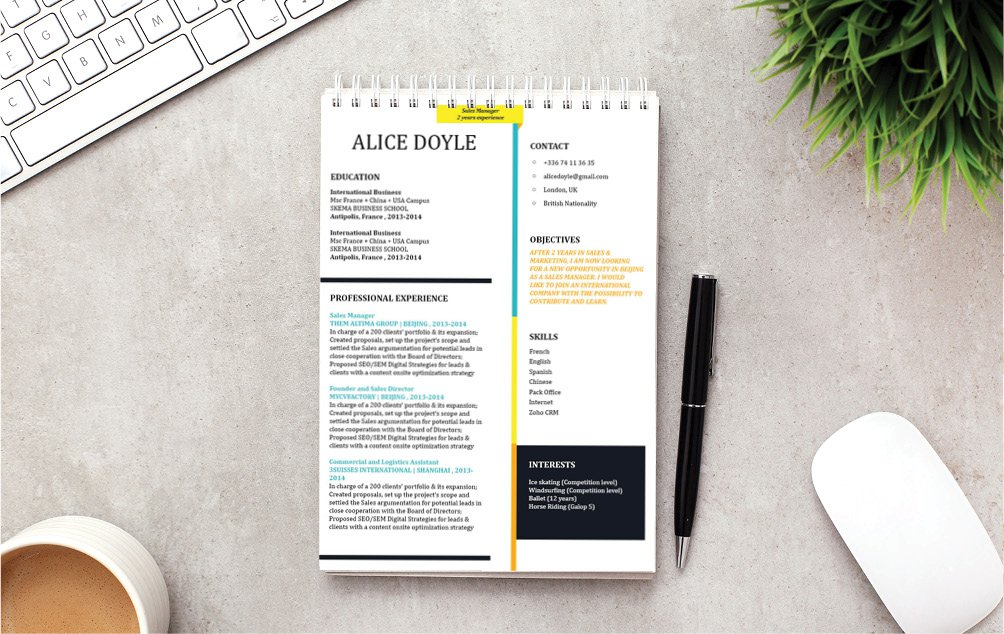 This modern CV template has a unique design that brings about the best in any canddiate!