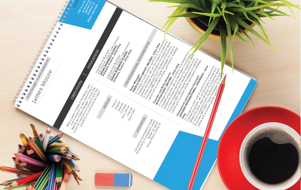 Colors and designs mix perfectly in this professional CV template