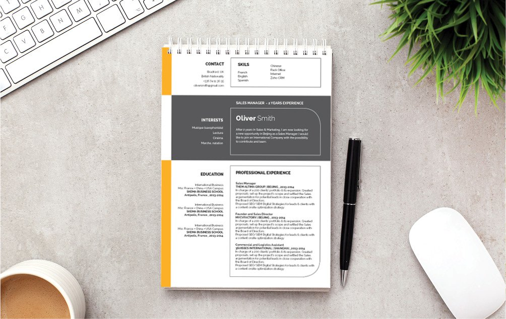 The professional resume template of choice. Create that awesome CV with this template!