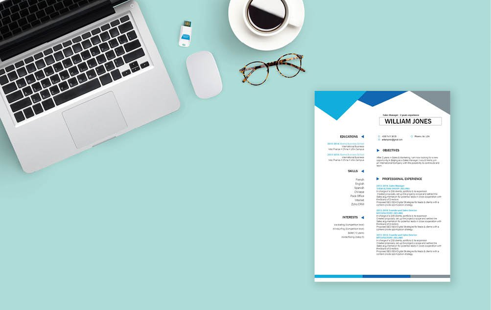 This professional CV template has a resume format made for the modern work age