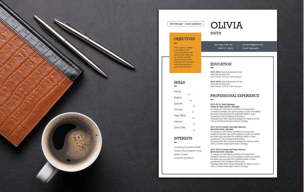 The design in this Modern Resume template creates the perfect professional profile