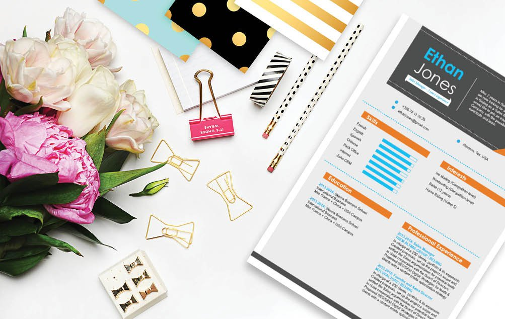 Colors and style make this Modern  CV  template an ideal choice for an educator